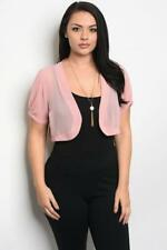 NEW..Beautiful Plus Size Pink Crop Bolero Shrug Cardi..Sz14/1XL