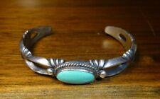 Navajo Turquoise Bracelet Cuff Sterling Silver SIgned Harrison Bitsue