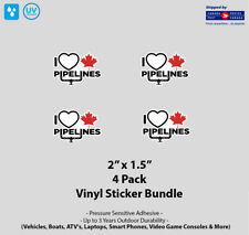 """4- Pack 2"""" x 1.5"""" I Love Canadian Pipelines Vinyl Stickers"""