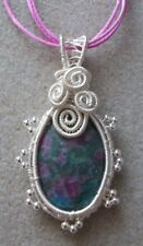 Ruby Zoisite Gemstone Cabochon Wire Wrapped Pendant Necklace