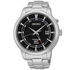 Seiko Kinetic GMT SUN033 P1 Silver/Black Dial Automatic Men's Analog Dress Watch
