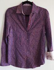 Robert Graham Flip Cuff Purple Paisley Mens Dress Shirt Small