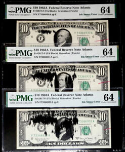 3 CONSEC.$10 FEDERAL RESERVE NOTE INK SMEAR/REJECTION MARK ERROR-PMG64-RARE FIND