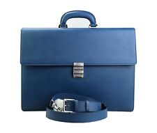 MONTBLANC 112416 BLUE SARTORIAL DBL GUSSET LARGE BRIEFCASE BAG LEATHER NEW ITALY