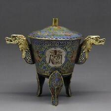 Oriental Handwork Cloisonne exquisite Flower Incense Burner