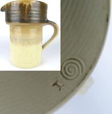 signierte Keramik Krug Kanne Art Pottery Jug Pitcher Vtg Bauhaus Style signed