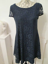Atmosphere - Navy Lace Short Sleeved Fully Lined Mini Dress SIZE 8 Nylon Blend