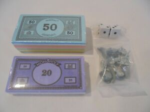 MONOPOLY REPLACEMENT MONEY BUNDLES, PLAYING MOVING PIECES & DICE - NEW & SEALED