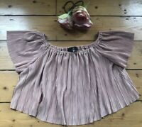 MISSGUIDED BARDOT top Size 10 OFF THE SHOULDER sleeves PLEATED pink METALLIC