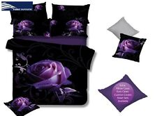 Purple Rose King Size Bed Duvet/Doona/Quilt Cover Set Brand New