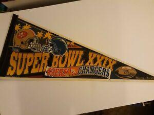 "Vtg 1994/5 Super Bowl XXIX SAN FRANCISCO 49ers SAN DIEGO CHARGERS Pennant 30"""