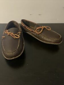 LL Bean men's brown Leather hand-sewn flannel lined Moccasin slippers size 11M