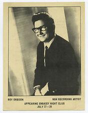 Roy Orbison Original 1967 Concert Handbill / Flyer