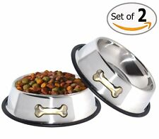 Dog Food Water Bowl Stainless Steel Rubber Base Non Slip 2 Pack 32 Oz