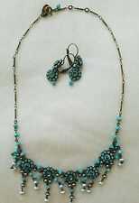 Stunning Liz Palacios Necklace and Earring Set-Blue Stones, Crystals,Seed Pearls