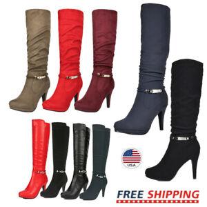 Women's Round Toe High Heel Platform Mid-Calf Knee High Boots Shoes Size 5.5 -11