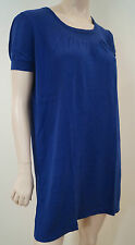 AGNES B PARIS Royal Blue Silk & Cotton Knitted Long Length Jumper Top Sz2 UK12
