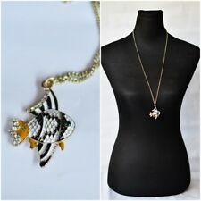 Long Chain Necklace with Black White Striped Fish Pendant