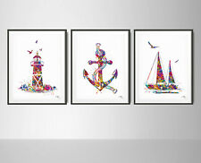 Nautical Decor Set Watercolor Print Set of 3 Summer Coastal Ocean Sea Decor-1660