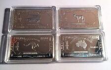 Set of 4 x 1 oz Australiana 1 Oz Ingots 999 fine Silver Plated. Great Gift