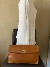 Authentic Christian Dior Brown Leather Vintage Clutch Handbag Purse Bag