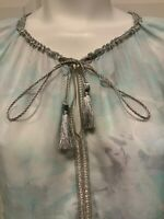 Elie Tahari Light Blue, Gray, & White Watercolor Floral Hi Low Shirt, Size XS