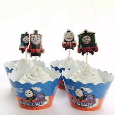 12x Thomas Train Cupcake Topper + Wrapper. Party Supplies Lolly Loot Bag Cake