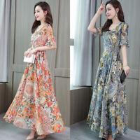 Sleeve Maxi Dress Dresses Summer  Boho Floral Ladies Women's Fashion Short