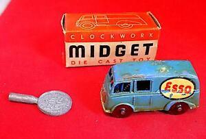 Vintage Diecast Clockwork Midget Esso Van, Chad Valley, England VGiB