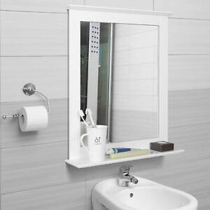 Kosmetikspiegel Badspiegel mit Ablage Badezimmerspiegel Wandspiegel Weiß