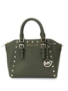Michael Kors * Ciara Studded MD Messenger Leather Bag in Olive Green 35T8GC6M2L