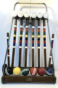 Vintage Forster 6 Player Croquet Set Wheeled Cart (COMPLETE SET)