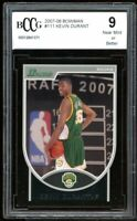 2007-08 Bowman #111 Kevin Durant Rookie Card BGS BCCG 9 Near Mint+