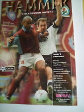 westham united v blackburn rovers premier league 18/4/1998