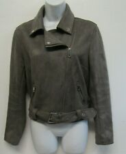 NEW LOOK WOMENS BIKER STYLE BOMBER JACKET SIZE 12 LIGHT BROWN FAUX SUEDE