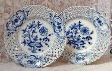 Antique Two Meissen Onion Pattern Reticulated Lattice Pierced Edge Plates #4