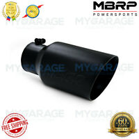 """MBRP T5072BLK 4"""" Inlet 6"""" Outlet Double Wall Round Angled 12"""" Black Exhaust Tip"""