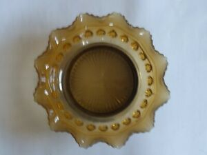 Art Deco Amber Coloured Cut Glass Ornate Bowl With Silver Plated Base Appr. 21cm