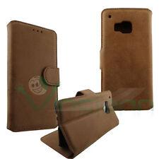 Custodia scamosciata pelle Marrone per HTC One M9 Flip cover STAND case