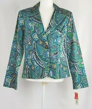 Bamboo Traders Womens L Paisley Jacket Turquoise Blazer One Button NEW WCJ023