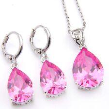 Water Drop Jewelry Set 2 pcs 1 Lot Lovely Pink Topaz Silver Pendant Earrings