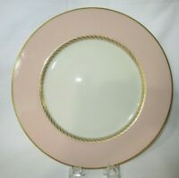 Caribbee by Lenox Fine China Dinner Plate Plate Pink Rim Gold Rope EUC 1954-70