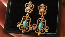 Fantastic 40's Etruscan Revival 14ct gld Turquoise Pearl dangle earrings, 4.29gm
