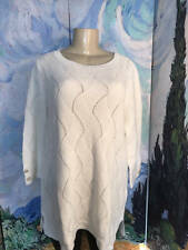 Charter Club Plus New 1X White Textured Crew Neckline 3/4 Sleeve Tunic Sweater