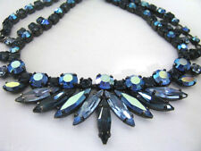 VINTAGE SHERMAN NAVY BLUE & AB NAVETTES AND CHATON STONES  NECKLACE