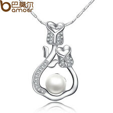 Luxury Silver Necklace With AAA Zircon Pearl Pendant For Christmas Women Gift