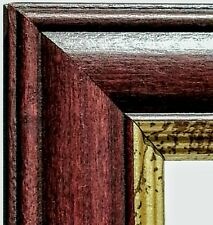 24 ft - Mahogany Gold Picture Frame Molding, Weathered Gold Lip, Wood, Length