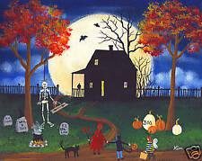HALLOWEEN NIGHT KIDS CAT Original Folk Art PRINT Kim