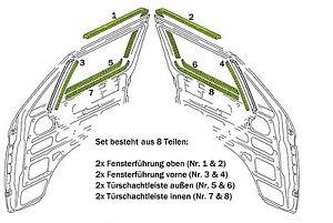 VW T3 Türschachtdichtung Fensterschachtdichtung 8 tlg. Satz für beide Türen