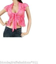 Fuchsia Cap Sleeve Tie Front Stretch Lace Shrug Top S